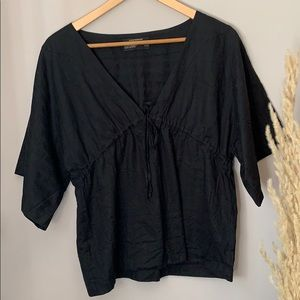 Club Monaco Black Cotton Tunic Top Size Medium